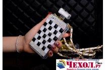 Фирменная роскошная элитная силиконовая задняя панель-накладка-сумка украшенная стразами кристалликами и декорированная элементами в форме флакона духов для iPhone 4/4S черно-белая