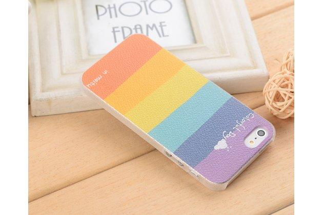 Фирменный оригинальный чехол-книжка для iPhone 4/4S с окошком для входящих вызовов водоотталкивающий с рисунком радуги