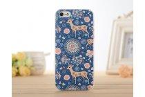 """Фирменная роскошная задняя панель-чехол-накладка с безумно красивым расписным узором на iPhone 4/4S """"тематика Олени с цветами"""""""