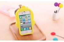 """Фирменная задняя панель-чехол-накладка с объёмным 3D изображением для iPhone 4/4S """"тематика веселый Утёнок"""" желтая"""