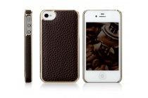 Фирменная роскошная элитная премиальная задняя панель-крышка на металлической основе обтянутая импортной кожей для iPhone 4/4S королевский черный