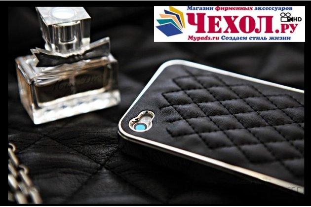 Фирменная роскошная элитная задняя панель-крышка на пластиковой основе обтянутая импортной кожей прошитой стёганым узором для iPhone 4/4S королевский черный