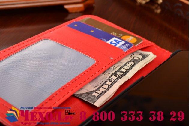 """Фирменный чехол-книжка с подставкой для iPhone 6 4.7"""" лаковая кожа крокодила алый огненный красный"""