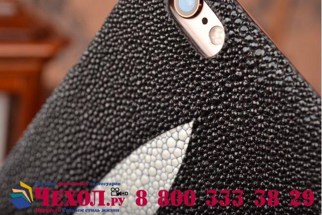 """Фирменная роскошная эксклюзивная накладка  из натуральной рыбьей кожи СКАТА (с жемчужным блеском) чёрный для iPhone 6 4.7"""" Только в нашем магазине. Количество ограничено"""