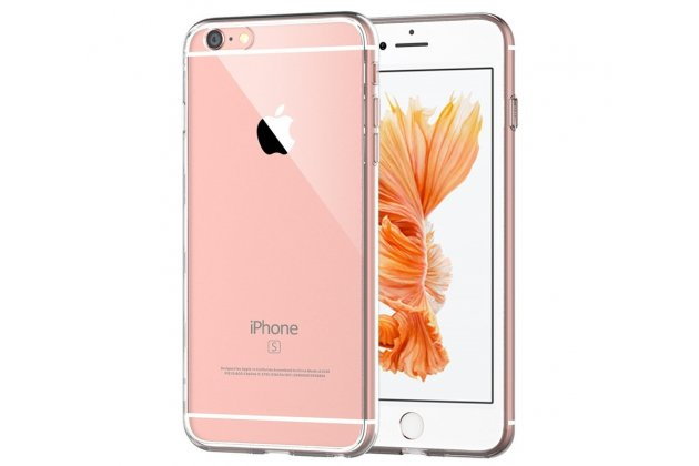 Фирменная ультра-тонкая полимерная из мягкого качественного силикона задняя панель-чехол-накладка для Iphone 6/ 6s прозрачная черная