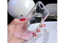 """Фирменная роскошная элитная пластиковая задняя панель-накладка украшенная стразами кристалликами со втроенным АКВАРИУМОМ для iPhone 6 4.7"""" розовая"""