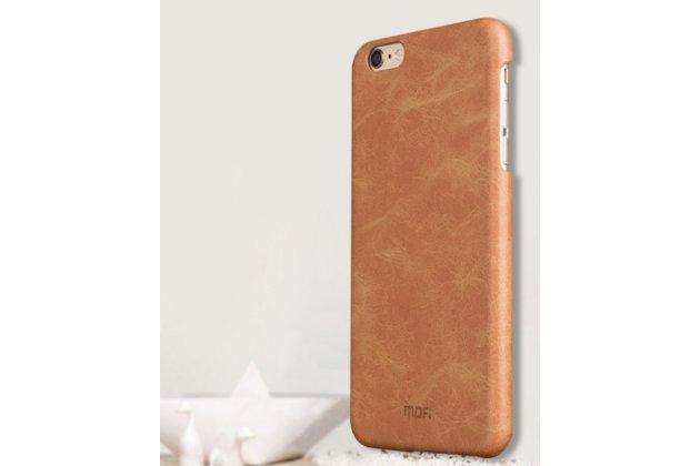 """Фирменная роскошная элитная премиальная задняя панель-крышка для iPhone 6S 4.7"""" из качественной кожи буйвола коричневый"""