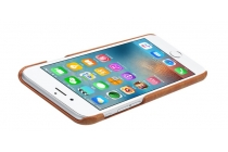 """Фирменная роскошная элитная премиальная задняя панель-крышка для iPhone 6 4.7"""" из качественной кожи буйвола коричневый"""