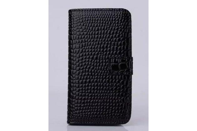 """Фирменный чехол-книжка с подставкой для iPhone 6 4.7"""" лаковая кожа крокодила черный"""