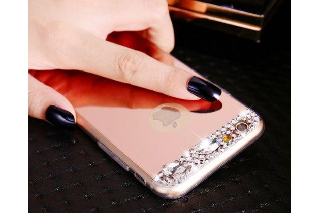 """Фирменная ультра-тонкая полимерная из мягкого качественного силикона задняя панель-чехол-накладка украшенная стразами и кристаликами для iPhone 6S 4.7"""" розовая"""
