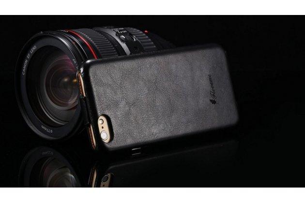 Фирменный оригинальный вертикальный откидной чехол-флип для iPhone 6 Plus черный из натуральной кожи