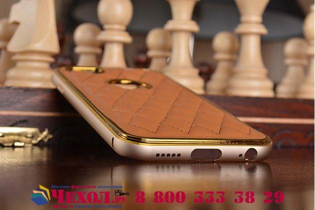 """Фирменная роскошная элитная задняя панель-крышка на металлической основе обтянутая импортной кожей прошитой стёганым узором для iPhone 6 4.7"""" королевский коричневый"""