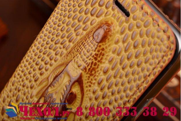 """Фирменный роскошный эксклюзивный чехол с объёмным 3D изображением кожи крокодила коричневый для iPhone 6 4.7"""". Только в нашем магазине. Количество ограничено"""