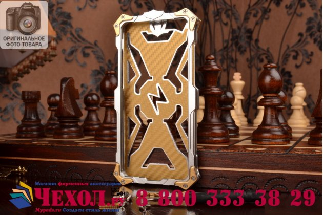"""Противоударный металлический чехол-бампер из цельного куска металла с усиленной защитой углов и необычным экстремальным дизайном  для iPhone 6 4.7"""" серебряного цвета"""