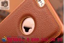 """Фирменная роскошная элитная премиальная задняя панель-крышка на металлической основе обтянутая импортной кожей для iPhone 6 4.7"""" королевский коричневый"""