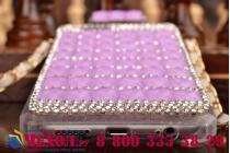 """Фирменная роскошная элитная силиконовая задняя панель-накладка-сумка украшенная стразами кристалликами и декорированная элементами в форме флакона духов для iPhone 6 4.7"""" фиолетовая"""