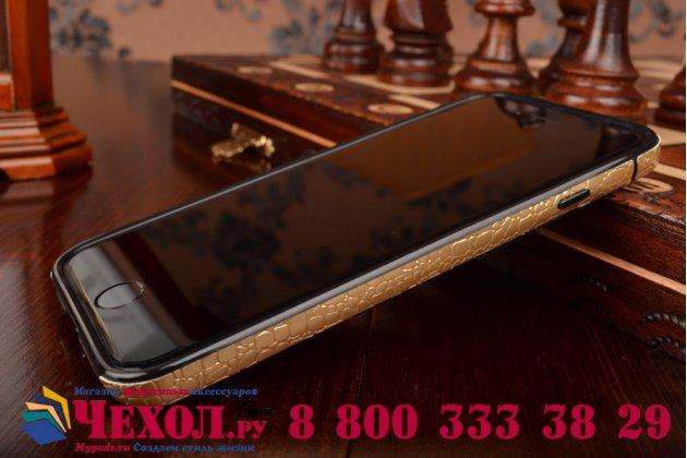 """Ультра-тонкая пластиковая задняя панель-крышка для iPhone 6 4.7"""" лаковая кожа крокодила золотая"""