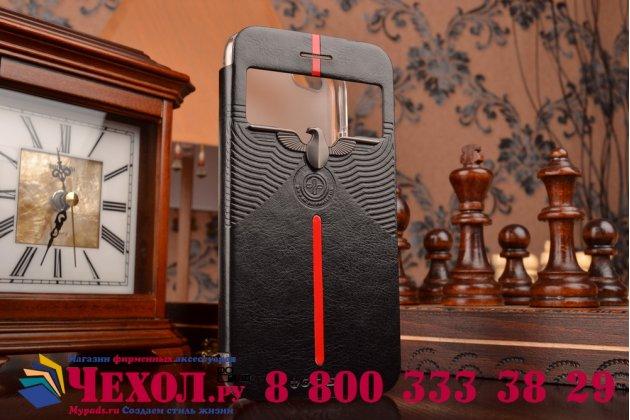 """Ультра-тонкий чехол с объемным металлическим изображением орла из импортной кожи для iPhone 6 4.7"""" черный"""