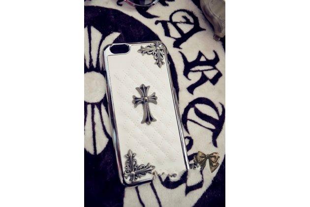 """Фирменная роскошная элитная задняя панель-крышка на металлической основе обтянутая импортной кожей прошитой стёганым узором для iPhone 6/ 6S 4.7"""" королевский белый"""
