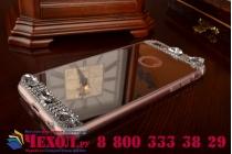 """Фирменная ультра-тонкая полимерная из мягкого качественного силикона задняя панель-чехол-накладка украшенная стразами и кристаликами для iPhone 6 4.7"""" серебряная"""