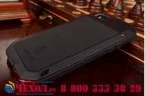 Неубиваемый водостойкий противоударный водонепроницаемый грязестойкий влагозащитный ударопрочный фирменный чехол-бампер для iPhone 6S черный цельно-металлический со стеклом Gorilla Glass