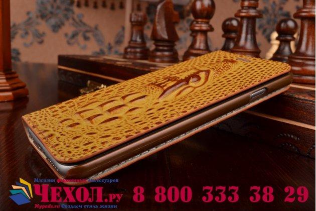 Роскошный эксклюзивный чехол с объёмным 3D изображением кожи крокодила коричневый для iPhone 6S . Только в нашем магазине. Количество ограничено