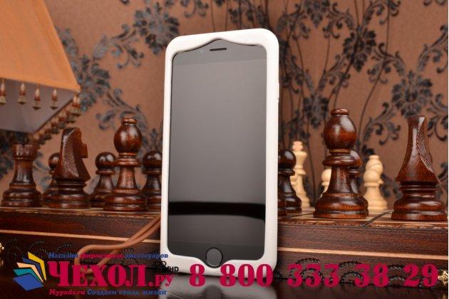 """Фирменная необычная уникальная полимерная мягкая задняя панель-чехол-накладка для iPhone 6S """"тематика Андроид в Белом Шоколаде"""""""