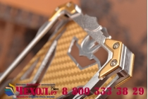 Противоударный металлический чехол-бампер из цельного куска металла с усиленной защитой углов и необычным экстремальным дизайном  для iPhone 6S серебряного цвета