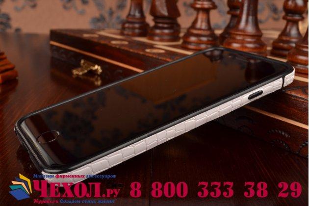 Ультра-тонкая пластиковая задняя панель-крышка-накладка для iPhone 6S лаковая кожа крокодила белая