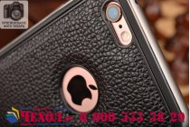 Фирменная роскошная элитная премиальная задняя панель-крышка на металлической основе обтянутая импортной кожей для iPhone 6S королевский черный