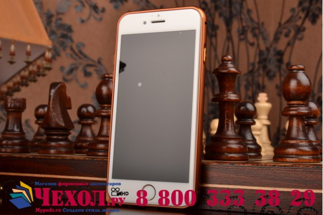 Фирменная роскошная элитная премиальная задняя панель-крышка на металлической основе обтянутая импортной кожей для iPhone 6S королевский коричневый