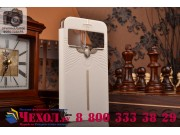 Ультра-тонкий чехол с объемным металлическим изображением орла из импортной кожи для iPhone 6S белый..