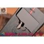 Ультра-тонкий чехол с объемным металлическим изображением орла из импортной кожи для iPhone 6S черный..