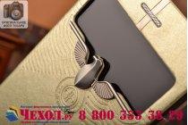 Ультра-тонкий чехол с объемным металлическим изображением орла из импортной кожи для iPhone 6S золотой
