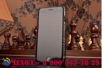 """Ультра-тонкая пластиковая задняя панель-крышка обтянутая кожей для iPhone 6S """"змеиная кожа"""" черный"""