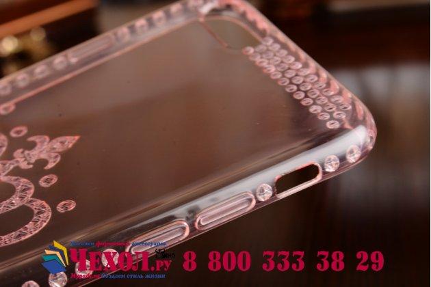 Фирменная ультра-тонкая полимерная из мягкого качественного силикона задняя панель-чехол-накладка для iPhone 6/ 6S прозрачная розовая с рисунком короны