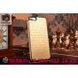 Ультра-тонкая пластиковая задняя панель-крышка для iPhone 6S лаковая кожа крокодила золотая..
