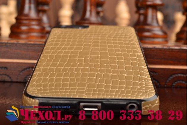 Ультра-тонкая пластиковая задняя панель-крышка для iPhone 6S лаковая кожа крокодила золотая