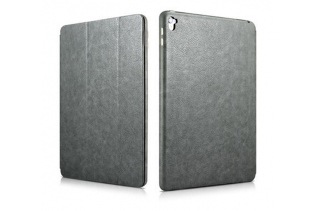 """Фирменный премиальный чехол бизнес класса для iPad Pro 9.7"""" из качественной импортной кожи серый"""