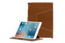 """Фирменный премиальный чехол-обложка  с подставкой для iPad Pro 9.7"""" из натуральной кожи коричневый"""