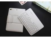 Фирменный чехол со съёмной Bluetooth-клавиатурой для ipad Mini 4 белый кожаный + гарантия..