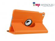 Чехол для планшета  iPad  mini 4 поворотный роторный оборотный оранжевый кожаный..