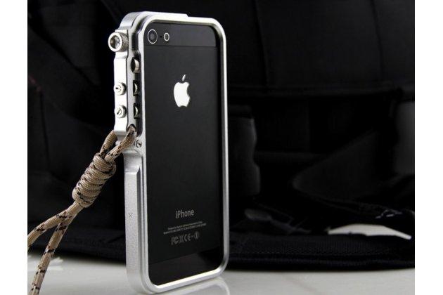 Фирменный чехол-бампер для iPhone 5 / 5S/ SE/ 5SE серый металлический