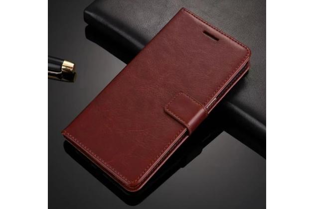 Фирменный чехол-книжка из качественной импортной кожи с подставкой застёжкой и визитницей для Айфон СЕ коричневый