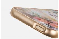 """Фирменная золотая металлическая задняя панель-крышка-накладка из тончайшего облегченного авиационного алюминия для iPhone 5 / 5S/ SE/ 5SE с объёмным 3D рисунком """"Королевские розы"""""""