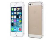 Фирменный чехол-бампер для iPhone 5 / 5S/ SE/ 5SE серебристый металлический..