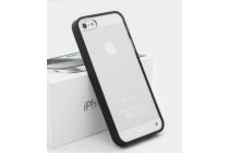 Фирменная ультра-тонкая полимерная задняя панель-чехол-накладка из силикона для Apple iPhone 5/ SE/ 5SE  прозрачная с черной окаемкой