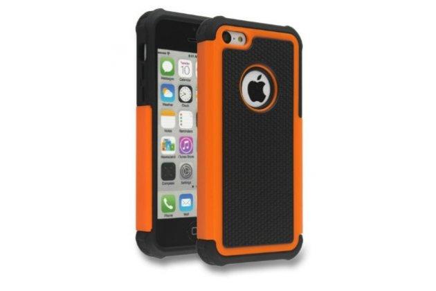 Противоударный усиленный ударопрочный фирменный чехол-бампер-пенал для IPhone 5/5S/SE/5SE оранжевый
