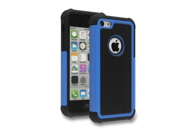 Противоударный усиленный ударопрочный фирменный чехол-бампер-пенал для IPhone 5/5S/SE/5SE синий