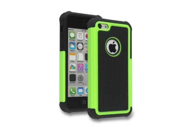 Противоударный усиленный ударопрочный фирменный чехол-бампер-пенал для IPhone 5/5S/SE/5SE зелёный